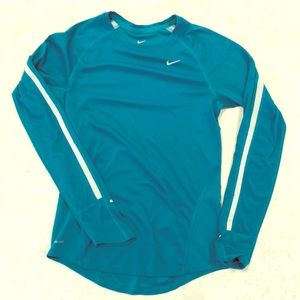 Turquoise Nike Dri-fit long sleeve top. Size small
